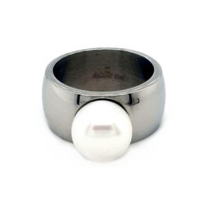 Leon Baker Steel Ladies Pearl Ring_0