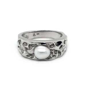 Leon Baker Sterling Silver Australian South Sea Keshi Pearl Ring_0