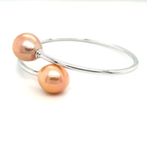Leon Baker Sterling Silver and Natural Pink Freshwater Pearl Bangle_1
