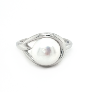 Leon Baker Sterling Silver White Button Pearl Ring_0