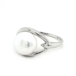 Leon Baker Sterling Silver White Button Pearl Ring_1