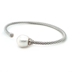 Leon Baker Sterling Silver and Broom Pearl Bangle_1