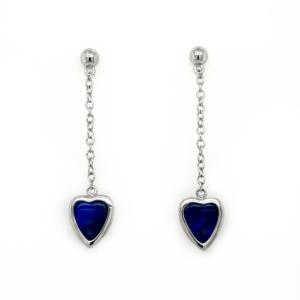 Leon Baker Sterling Silver Opal Doublet Heart Earrings_0