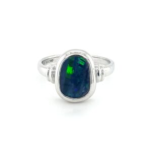 Leon Baker Sterling Silver and Solid Boulder Opal Ring_0