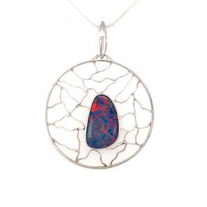 Leon Baker Sterling Silver and Boulder Opal Pendant_0