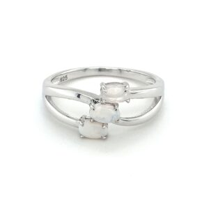 Leon Baker Sterling Silver and Solid White Opal Ring_0