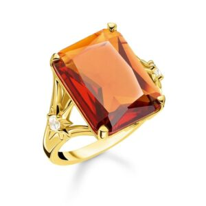 Thomas Sabo Orange Stone Ring with Star Accents_0