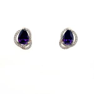 Leon Baker Sterling Silver Amethyst and Cubic Zirconia Earrings_0