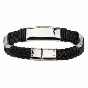 Leon Baker Stainless Steel and Leather Men's Bracelet_1