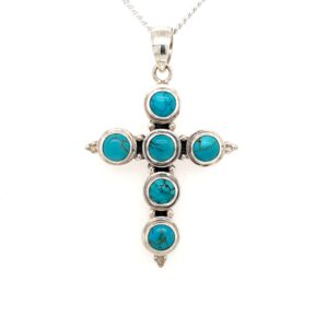 Leon Baker Sterling Silver and Turquoise Cross Pendant_0