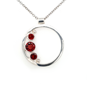 Leon Baker Sterling Silver and Garnet Circular Pendant_0