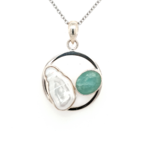 Leon Baker Sterling Silver Pearl and Turquoise Pendant_0