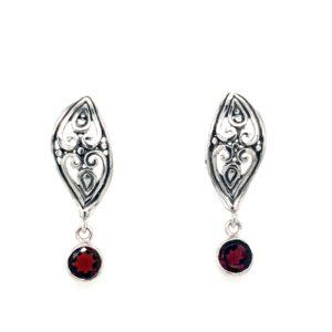 Leon Baker Sterling Silver and Garnet Earrings_0