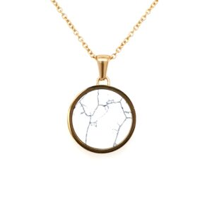 Leon Baker Gold Stainless Steel with White Marble Pendant_0