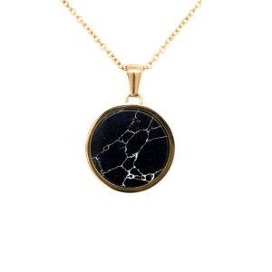 Leon Baker Gold Stainless Steel and Black Marble Pendant_0