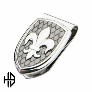 Hollis Bahringer Stainless Steel & Carbon Fiber Fleur de Lis Money Clip_0