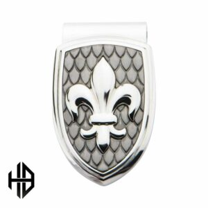 Hollis Bahringer Stainless Steel & Carbon Fiber Fleur de Lis Money Clip_1