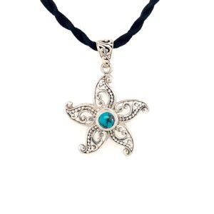 Leon Baker Sterling Silver Turquiose Starfish Pendant_0