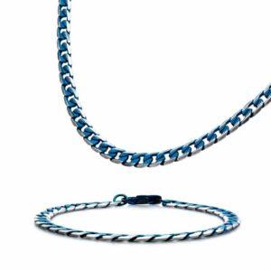 Leon Baker Stainless Steel, Blue Plated Curb Bracelet_0