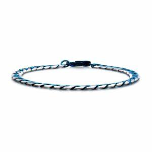 Leon Baker Stainless Steel, Blue Plated Curb Bracelet_1