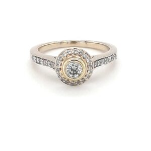 Leon Bakers 18K 2 Tone Pave Engagement Ring_0