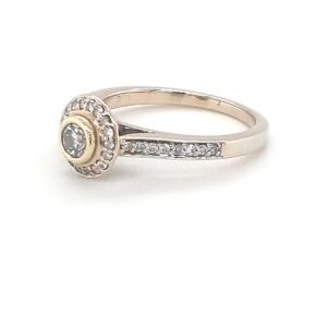 Leon Bakers 18K 2 Tone Pave Engagement Ring_1