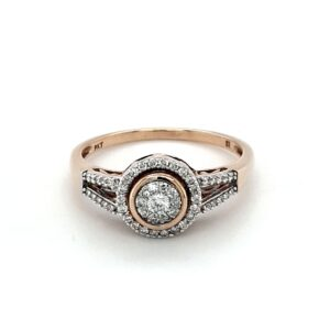 Leon Bakers 9K Yellow Gold 56 diamond halo/cluster ring_0