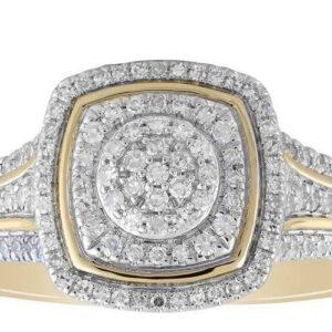 Royoal Diamond 9K Yellow Gold Cluster 0.35ct Diamond Engagement Ring_0