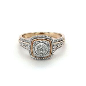 Royoal Diamond 9K Yellow Gold Cluster 0.35ct Diamond Engagement Ring_1