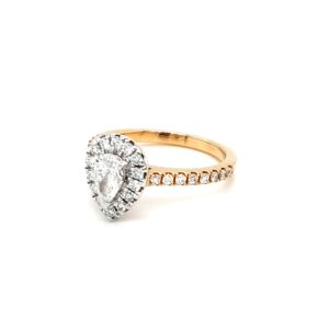 Leon Bakers 18K Two-Toned Pear Shaped Diamond Engagement Ring_1