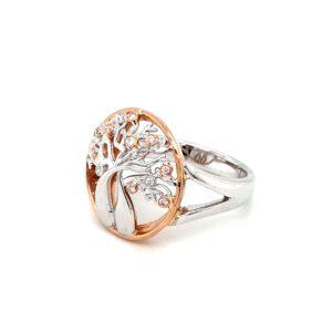 Argyle 18K Australian Boab Tree Ring with Pink and White Diamonds_1