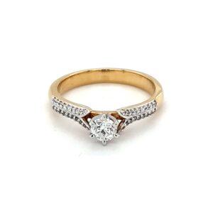 Royal Diamond 9K Yellow Gold Diamond Engagement Ring_0