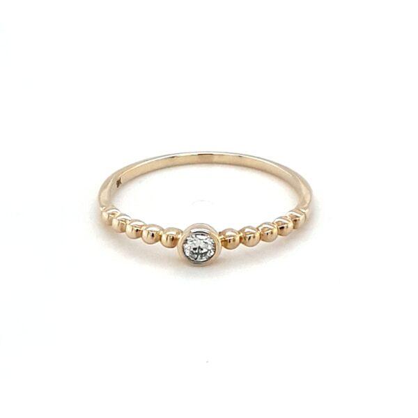 Royal Diamond 9K Yellow Gold 0.08ct Diamond Engagement Ring_0