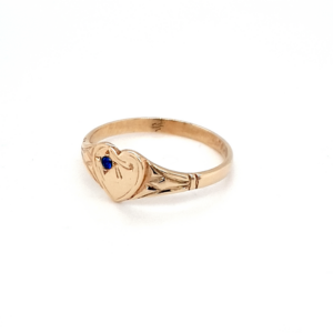 Blue Bird 9K Yellow Gold Heart Signet Ring with Blue Spinel_1