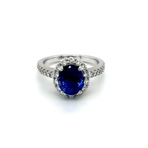 Leon Bakers 18K White Gold Diamond and Blue Sapphire Ring_0