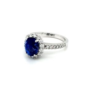 Leon Bakers 18K White Gold Diamond and Blue Sapphire Ring_1