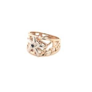 Coral Bay Collection 9K Yellow Gold with a Silver Starfish and Sapphire Ring_1