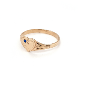 Blue Bird 9K Yellow Gold Heart Signet Ring with Spinel_1