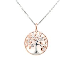 Royal Diamond 9K Rose and White Gold Tree of Life Pendant_0