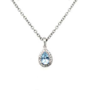 Royal Diamond 9K White Gold Diamond and Aquamarine Pendant_0