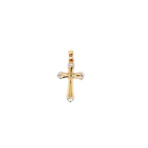 Leon Baker 9K Yellow and White Gold Cross Pendant_0