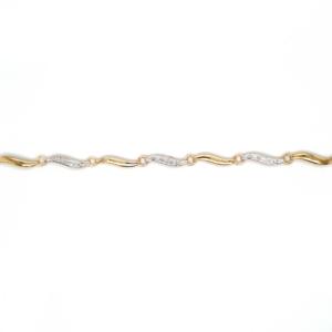 Leon Baker 9K Yellow Gold and Diamond Swirl Link Bracelet_0