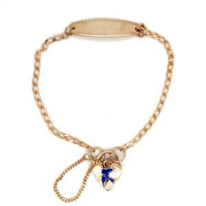 Blue Bird 9K Yellow Gold Baby ID Bracelet with Padlock_0