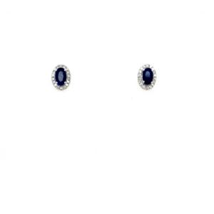 Royal Diamond 9K White Gold Diamond and Sapphire Earrings_0