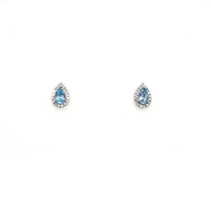 Royal Diamond 9K White Gold Diamond and Aquamarine Earrings_0