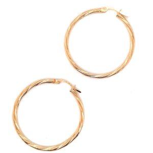 Leon Baker 9K Yellow Gold Twist Hoop Earrings_0