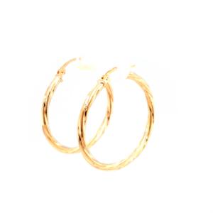 Leon Baker 9K Yellow Gold Twist Hoop Earrings_1