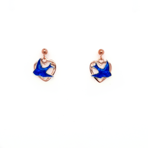 Blue Bird 9K Rose Gold Heart Earrings_0