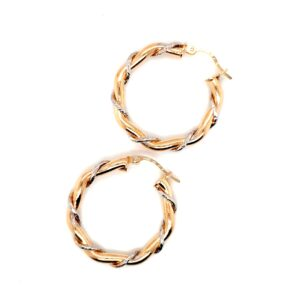 Leon Baker 9K Yellow and White Gold Twisted Hoop Earrings_0