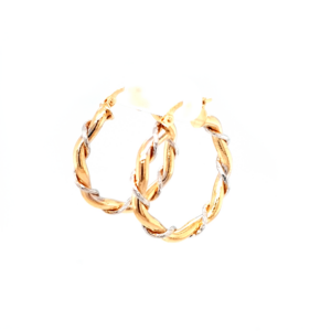 Leon Baker 9K Yellow and White Gold Twisted Hoop Earrings_1